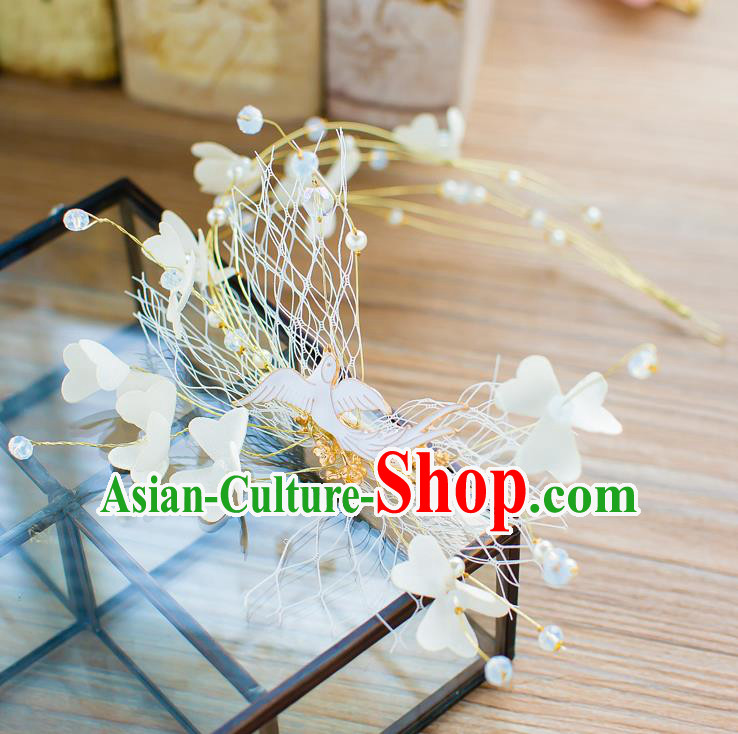 Handmade Classical Wedding Hair Accessories Bride Pigeons Hair Clasp Headband for Women