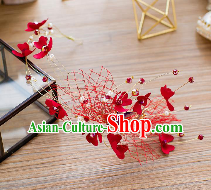 Handmade Classical Wedding Hair Accessories Bride Pigeons Red Hair Clasp Headband for Women