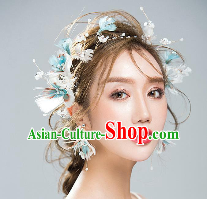 Handmade Classical Wedding Hair Accessories Bride Feather Hair Clasp and Earrings Headwear for Women