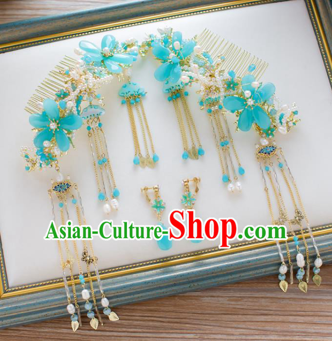 Chinese Handmade Classical Hair Accessories Ancient Blue Hair Comb Tassel Hairpins for Women
