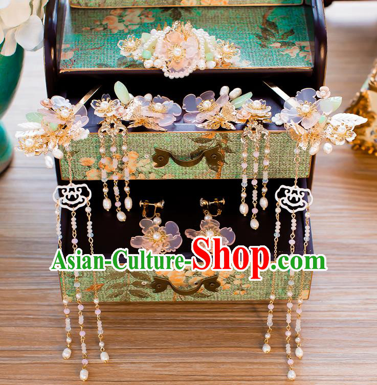 Chinese Handmade Classical Hair Accessories Ancient Pearls Tassel Hair Clip Hairpins for Women