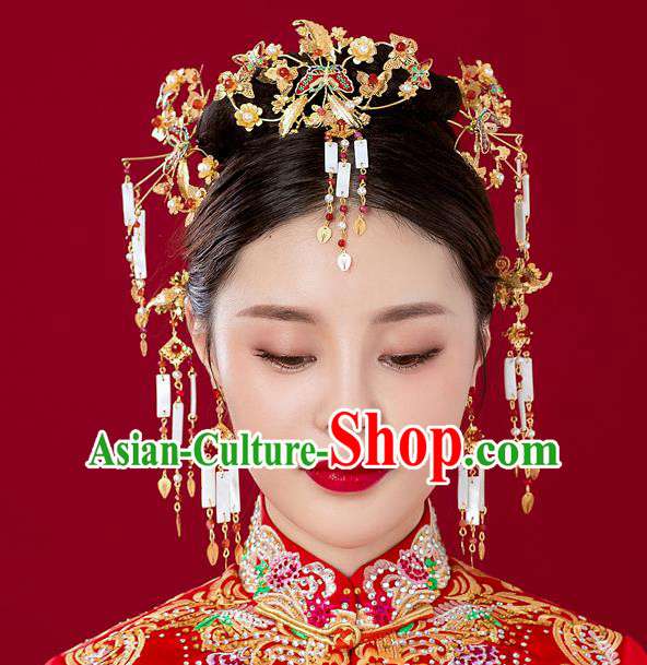 Chinese Handmade Classical Hair Accessories Ancient Red Phoenix Coronet Tassel Hairpins for Women