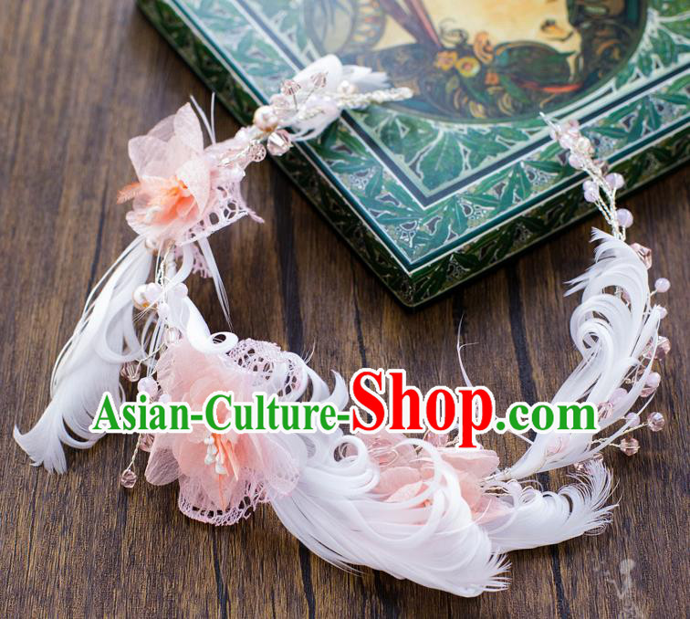 Handmade Classical Wedding Hair Accessories Bride Feather Flowers Hair Clasp Headwear for Women