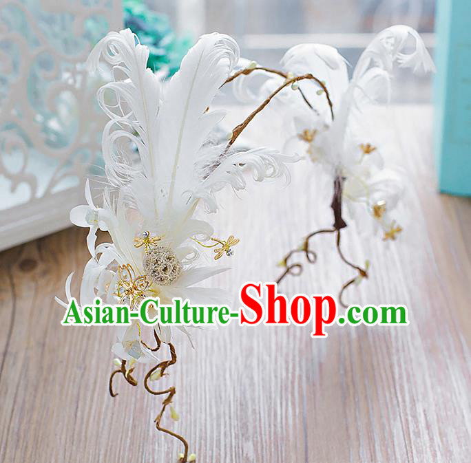Handmade Classical Wedding Hair Accessories Bride White Feather Hair Clasp Headwear for Women