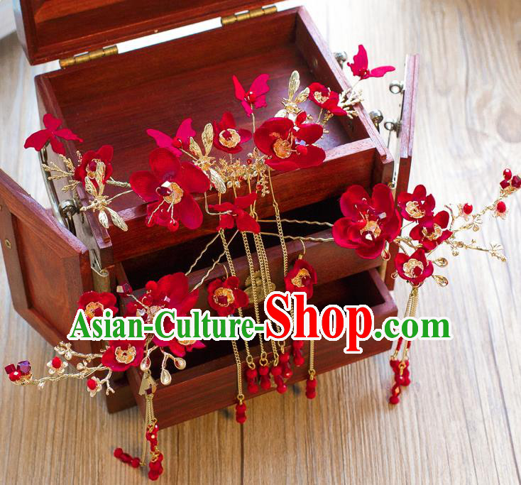 Chinese Handmade Classical Hair Accessories Ancient Bride Red Flowers Hair Coronet Tassel Hairpins for Women