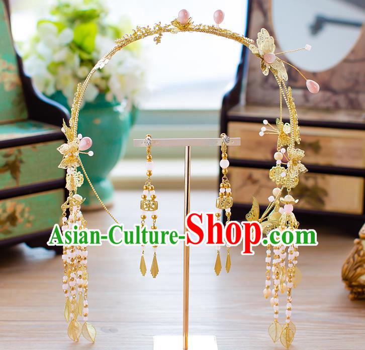 Handmade Classical Wedding Hair Accessories Bride Golden Tassel Hair Clasp and Earrings Headwear for Women