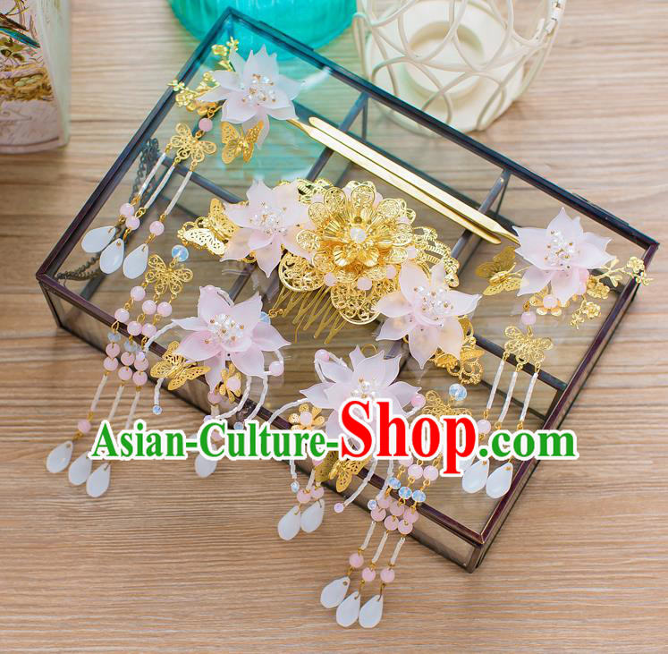 Chinese Handmade Classical Hair Accessories Ancient Pink Lotus Hair Comb Tassel Hairpins for Women