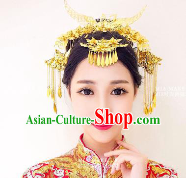 Chinese Handmade Classical Hair Accessories Ancient Xiuhe Suit Golden Phoenix Coronet Hair Clip Tassel Hairpins for Women