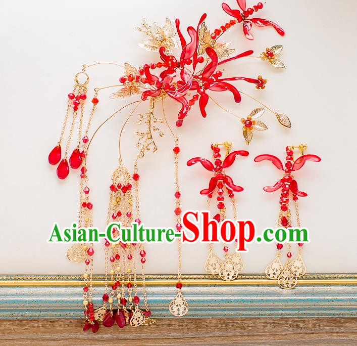 Chinese Handmade Classical Hair Accessories Ancient Red Hair Stick Tassel Hairpins for Women