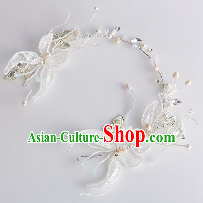Handmade Classical Wedding Hair Accessories Bride Lace Butterfly Hair Clasp Headwear for Women