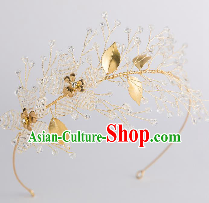Handmade Classical Wedding Hair Accessories Bride Golden Leaf Hair Clasp Headwear for Women