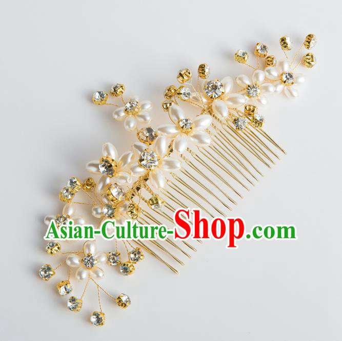 Handmade Classical Wedding Hair Accessories Bride Pearls Hair Comb Hairpins Headwear for Women