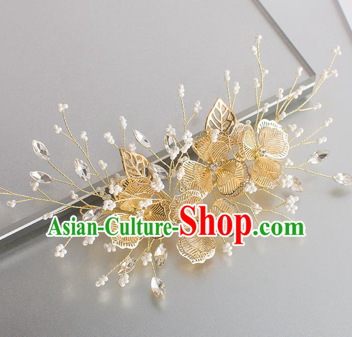 Handmade Classical Wedding Hair Accessories Bride Golden Hair Claw Headwear for Women