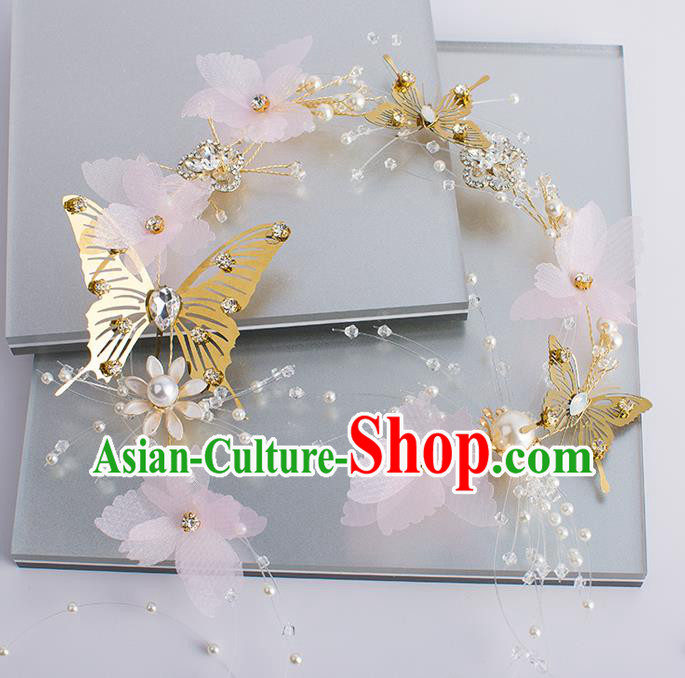 Handmade Classical Wedding Hair Accessories Bride Butterfly Hair Clasp Headwear for Women