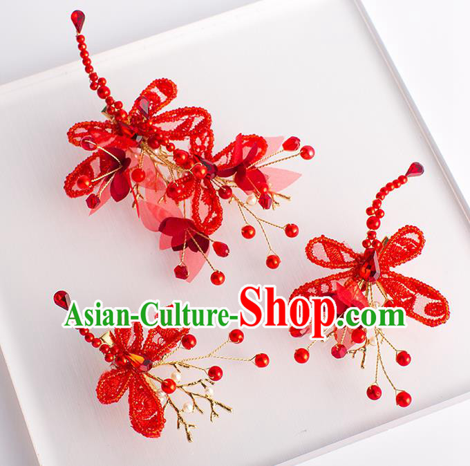 Handmade Classical Wedding Hair Accessories Bride Red Dragonfly Hair Claws Headwear for Women