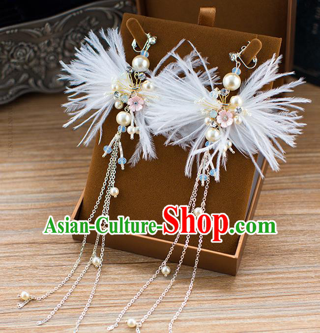 Handmade Classical Wedding Accessories Earrings Baroque Bride White Feather Ear Pendant for Women