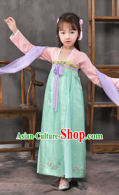 Traditional China Tang Dynasty Princess Costume, Chinese Ancient Palace Lady Hanfu Clothing for Kids