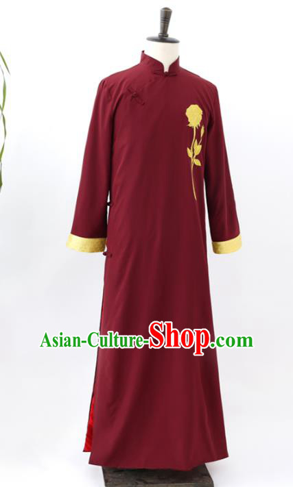 Traditional Republic of China Nobility Childe Costume, Chinese Cross Talke Clothing Wine Red Long Robe for Men