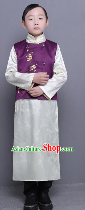 Traditional Republic of China Nobility Childe Embroidered Costume Chinese Long Robe for Kids