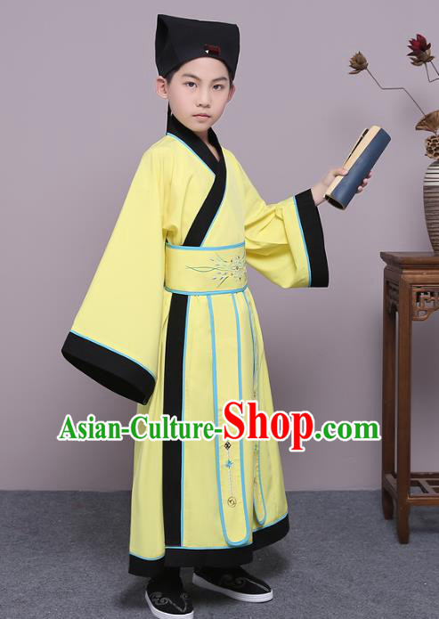 Traditional China Han Dynasty Minister Costume, Chinese Ancient Scholar Hanfu Yellow Robe Clothing for Kids