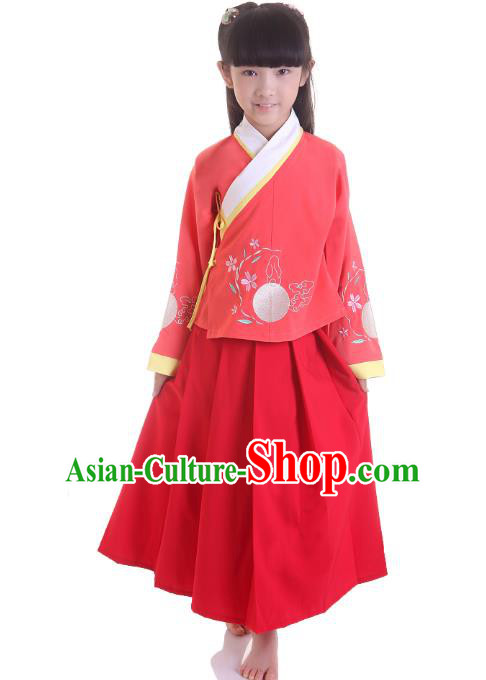 Traditional China Ming Dynasty Girls Costume, Chinese Ancient Princess Hanfu Clothing for Kids