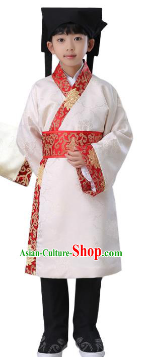 Traditional China Han Dynasty Scholar Costume, Chinese Ancient Hanfu Clothing for Kids