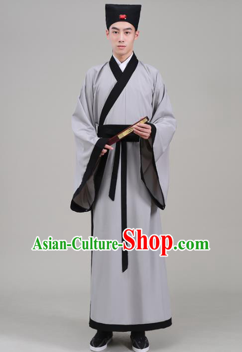 Traditional China Han Dynasty Scholar Costume, Chinese Ancient Chancellor Hanfu Robe Clothing for Men
