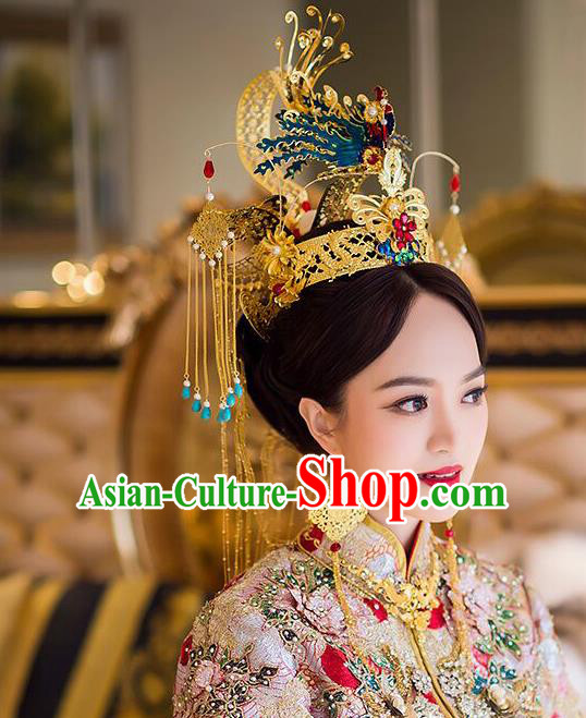 Chinese Handmade Classical Hair Accessories Wedding Bride Blueing Phoenix Coronet Hairpins Complete Set