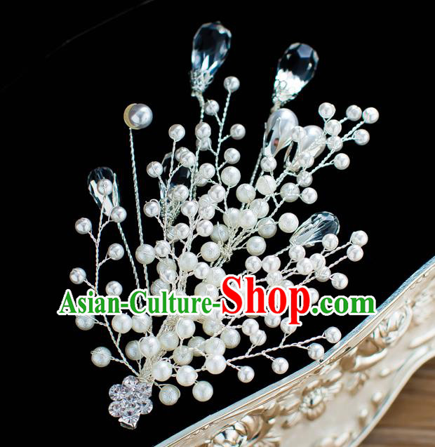 Handmade Classical Wedding Hair Accessories Bride Pearls Hair Claw Headwear for Women