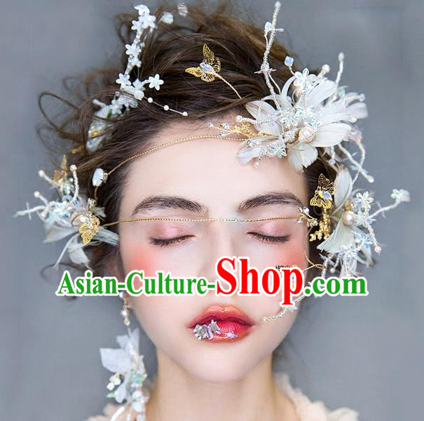 Handmade Classical Wedding Hair Accessories Bride Feather Hair Clasp Headwear for Women