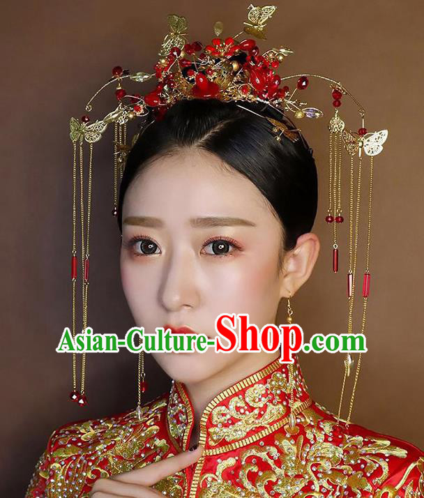 Chinese Handmade Classical Hair Accessories Wedding Butterfly Phoenix Coronet Hairpins Complete Set