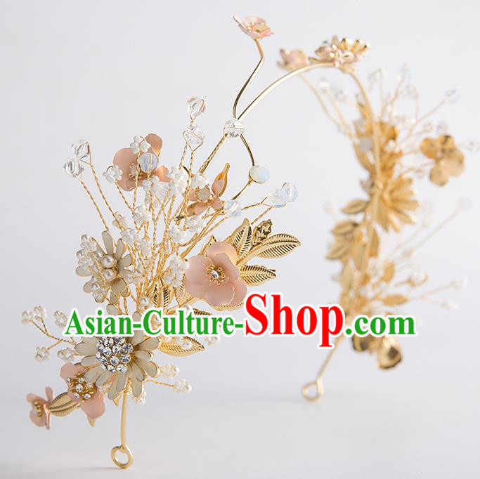 Handmade Classical Wedding Hair Accessories Bride Golden Hair Clasp Headwear for Women