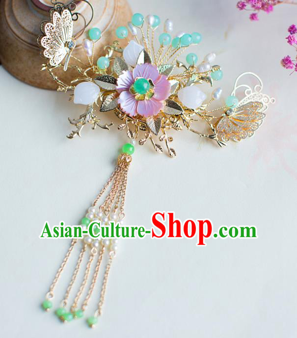 Chinese Handmade Classical Hair Accessories Wedding Butterfly Hairpins Tassel Step Shake Headwear