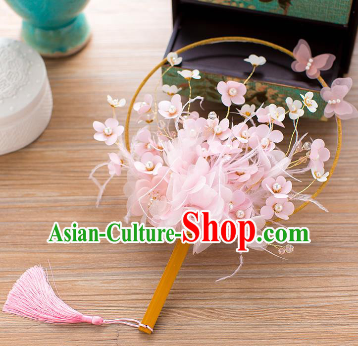 Chinese Handmade Classical Pink Flowers Palace Fans Ancient Wedding Round Fans for Women