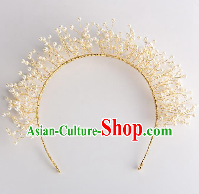 Handmade Classical Wedding Hair Accessories Bride Golden Pearls Hair Clasp Headwear for Women