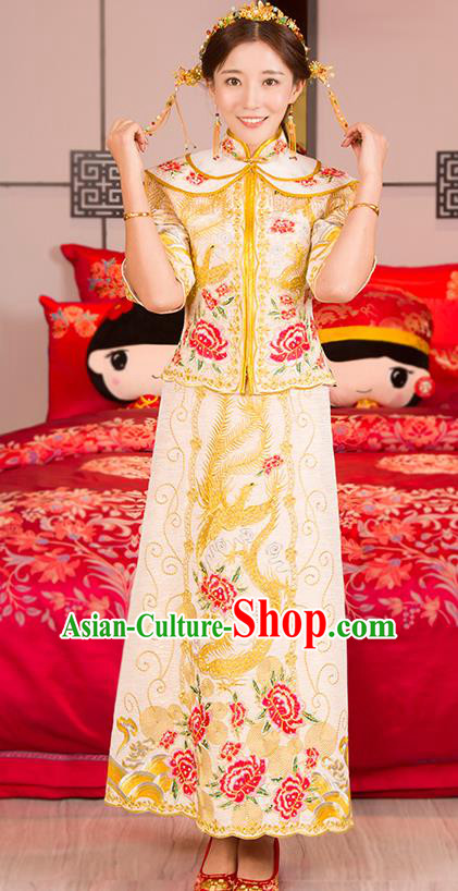 Traditional Ancient Chinese Wedding Costume, China Style Xiuhe Suits Bride Toast Golden Embroidered Clothing for Women