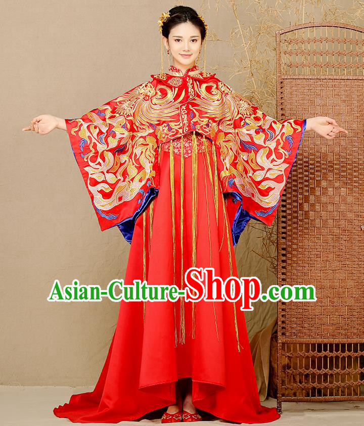 Traditional Chinese Wedding Costume Ancient Bride Embroidered Phoenix Xiuhe Suits Trailing Dress for Women