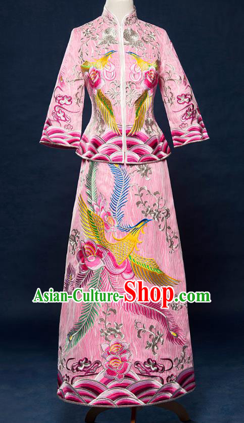 Traditional Ancient Chinese Wedding Costume Bride Embroidered Pink Cheongsam Xiuhe Suits for Women