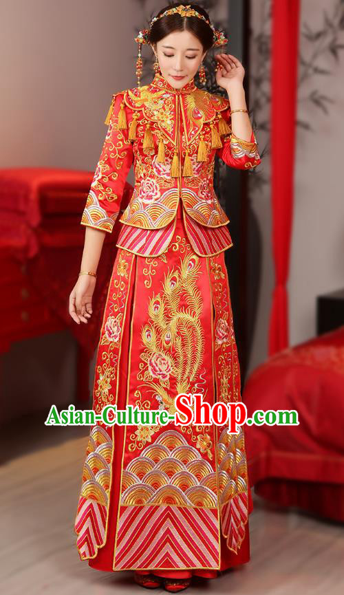 Traditional Chinese Wedding Costume Ancient Bride Embroidered Phoenix Peony Red Xiuhe Suits Dress for Women