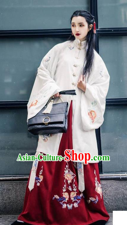 China Ancient Ming Dynasty Palace Lady Costume Embroidered Long Cape and Skirt for Women