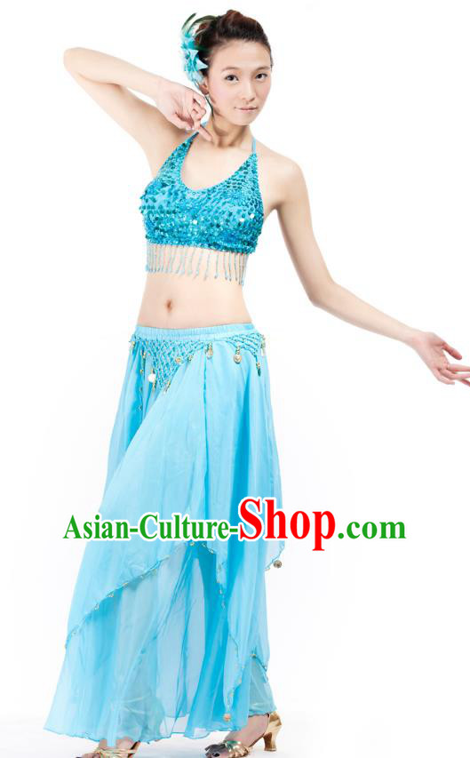 Indian Bollywood Belly Dance Blue Tassel Dress Clothing Asian India Oriental Dance Costume for Women