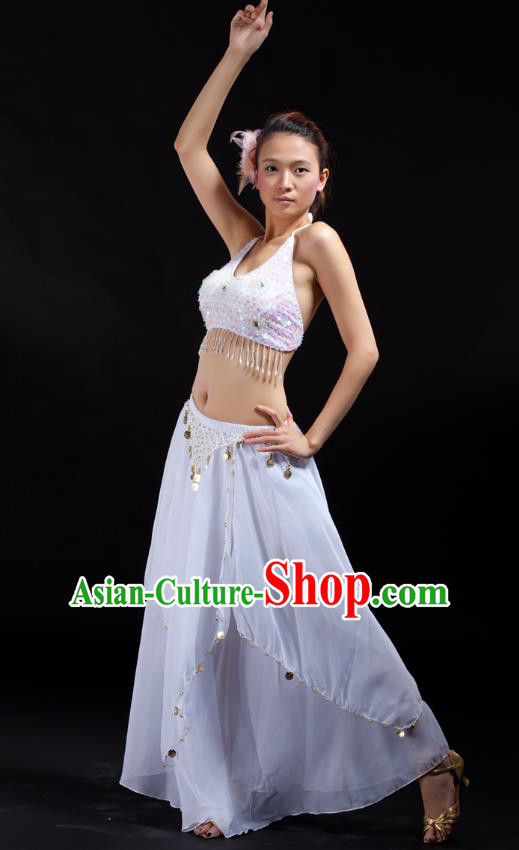 Indian Bollywood Belly Dance White Tassel Dress Clothing Asian India Oriental Dance Costume for Women