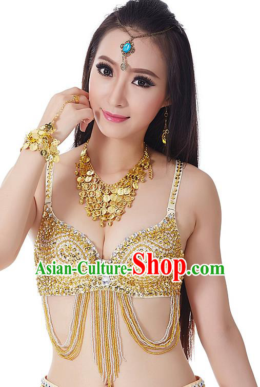 Indian Bollywood Belly Dance Golden Tassel Brassiere Asian India Oriental Dance Costume for Women