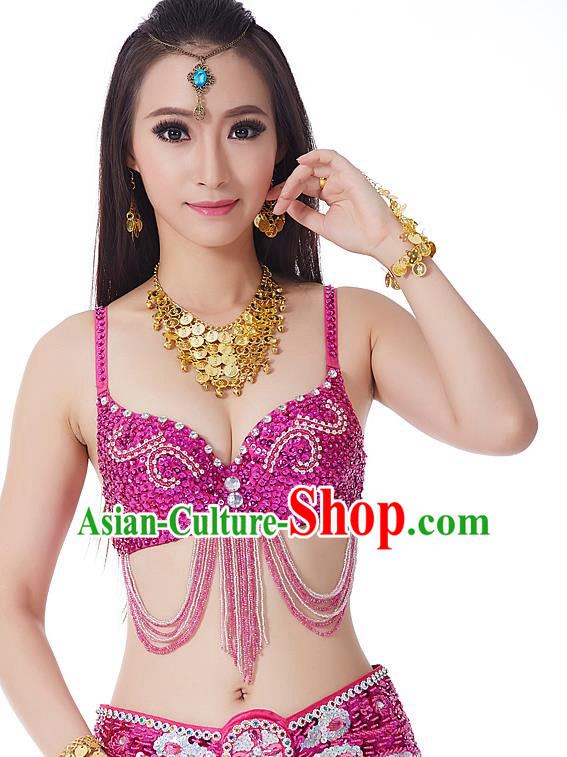 Indian Bollywood Belly Dance Rosy Tassel Brassiere Asian India Oriental Dance Costume for Women