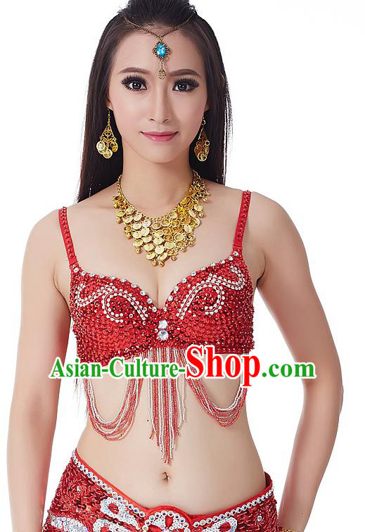 Indian Bollywood Belly Dance Red Tassel Brassiere Asian India Oriental Dance Costume for Women