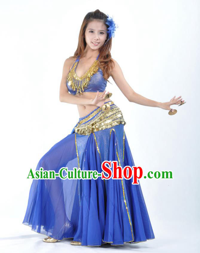 Traditional Indian Bollywood Belly Dance Royalblue Dress Asian India Oriental Dance Costume for Women