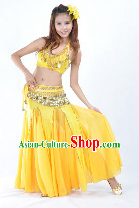 Traditional Indian Bollywood Belly Dance Yellow Dress Asian India Oriental Dance Costume for Women