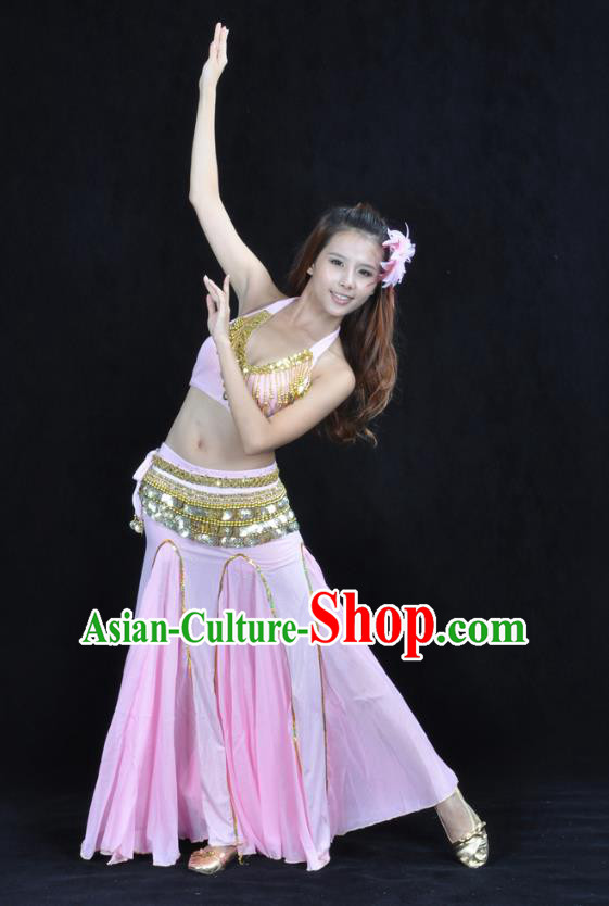 Traditional Indian Bollywood Belly Dance Pink Dress Asian India Oriental Dance Costume for Women