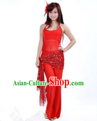 Traditional Indian Belly Dance Oriental Dance Red Costume for Women