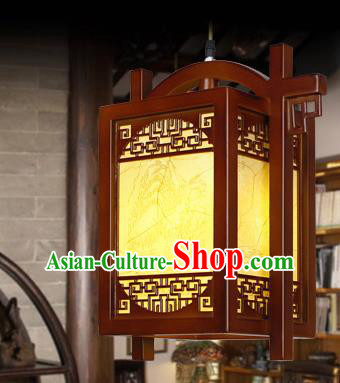 Chinese Classical Handmade Wood Carving Palace Lanterns Hanging Lantern Ancient Painted Ceiling Lamp